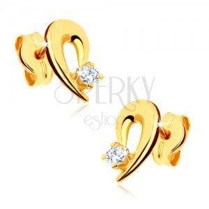 Kolczyki z żółtego złota 9K - zarys połówki serca ozdobiony przezroczystym kamyczkiem obraz