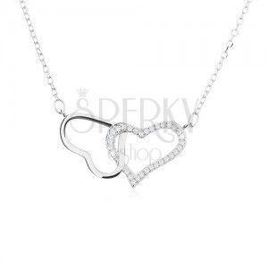 Srebrny naszyjnik 925, dwa zarysy - lśniącego i cyrkoniowego serca obraz