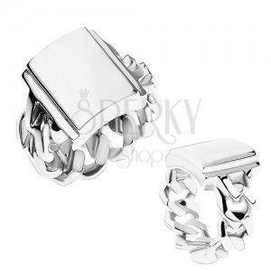 Pierścionek ze stali, srebrny kolor, ramiona z oczkami, lustrzany lśniący prostokąt obraz