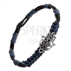 Pleciona bransoletka - niebieskoczarne sznurki, zawieszka wycinana buddyjska ręka obraz