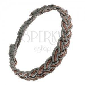 Zaplatana bransoletka na rękę, przeplatające się brązowo-szare sznurki, styl warkoczowy obraz