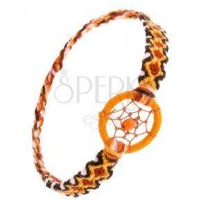 Pomarańczowa bransoletka z wełny, wzór z rombów, kółko z kuleczką obraz