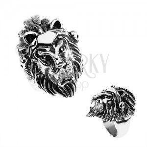 Pierścionek ze stali 316L, srebrny kolor, głowa lwa, opaska z piórkami, czaszki obraz