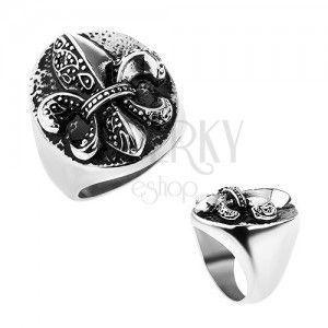 Pierścionek ze stali, Fleur de Lis w owalu, srebrny kolor, patyna obraz