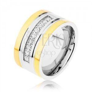 Stalowy pierścionek złotego i srebrnego koloru, błyszczący cyrkoniowy pas, nacięcia obraz