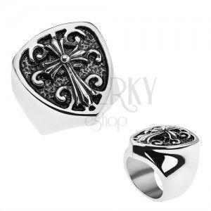 Patynowany pierścionek ze stali 316L, herb z krzyżem liliowym, ornamenty obraz