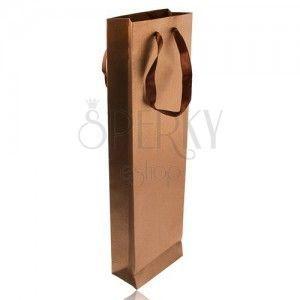 Podłużna torebeczka na prezent w brązowym kolorze, brokat, brązowe wstążki obraz