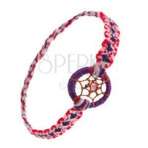 Kolorowa bransoletka na rękę z miękkiej muliny, kółka, pajęczynka z koralikiem, styl łapacza snów obraz