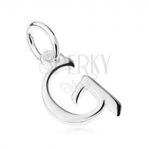 """Wisiorek ze srebra 925, lustrzana lśniąca duża drukowana litera """"G"""" obraz"""
