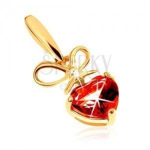 Wisiorek z żółtego złota 9K - czerwone serduszko z granatu ze związaną kokardką obraz