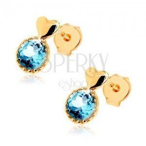 Kolczyki z żółtego złota 9K - gładkie wypukłe serduszko, okrągły niebieski topaz obraz