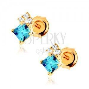 Kolczyki z żółtego złota 9K, kwadratowy niebieski topaz, przezroczyste cyrkonie obraz