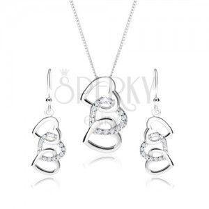 Srebrny zestaw 925, kolczyki i naszyjnik - zarysy trzech połączonych serc, przezroczyste cyrkonie obraz