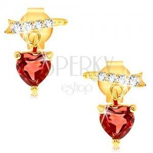 Kolczyki z żółtego złota 9K - cyrkoniowa wstążka, czerwone serce z granatu obraz