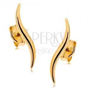 Kolczyki wkręty z żółtego złota 9K - wąskie lśniące fale obraz