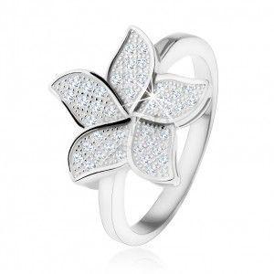 Srebrny pierścionek 925, błyszczący cyrkoniowy przezroczysty kwiat obraz