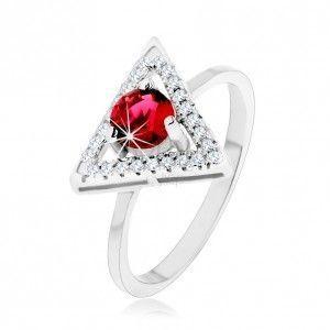 Srebrny pierścionek 925 - cyrkoniowy zarys trójkąta, okrągła czerwona cyrkonia obraz