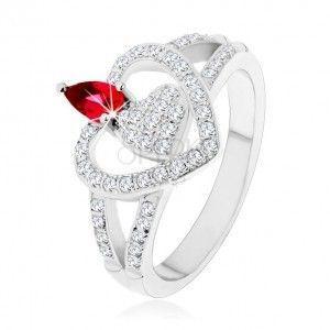 Srebrny pierścionek 925, dwa przezroczyste cyrkoniowe serca, lśniąca różowa cyrkonia obraz
