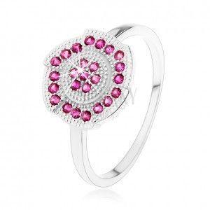 Srebrny pierścionek 925, grawerowany kwiatek ozdobiony różowymi cyrkoniami obraz