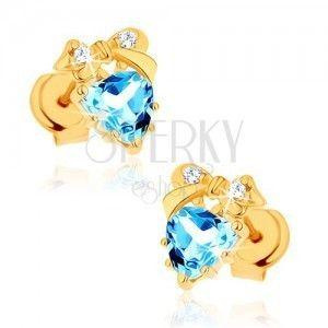 Złote kolczyki 375 - niebieskie topazowe serduszko z kokardką obraz