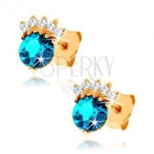 Złote kolczyki 375 - cyrkoniowa korona, okrągły topaz niebieskiego koloru obraz