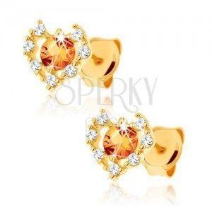 Kolczyki z żółtego złota 9K - przezroczysty cyrkoniowy zarys serca, żółty cytryn obraz