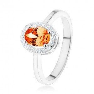 Srebrny pierścionek 925, pomarańczowa owalna cyrkonia, przezroczysta lśniąca obwódka obraz