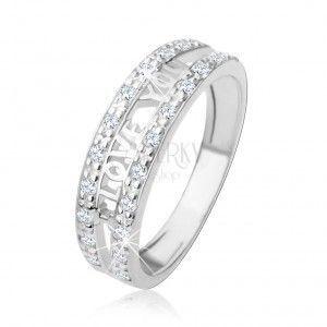 """Srebrny pierścionek 925 - napis """"I LOVE YOU"""", pasy przezroczystych cyrkonii obraz"""