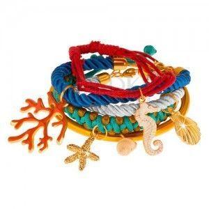 Multibransoletka, kolorowe sznurki i obręcz, zawieszki - koral, muszle, morski konik obraz