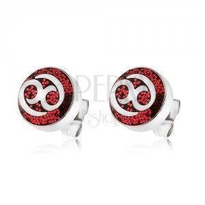 Kolczyki ze stali 316L ozdobione czerwonym brokatem z ornamentem obraz