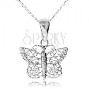 Srebrny naszyjnik 925, lśniący motyl z filigranowymi skrzydłami obraz