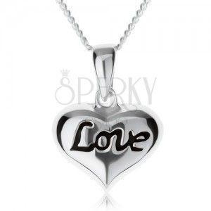 """Regulowany naszyjnik, serduszko z napisem """"Love"""", srebro 925 obraz"""