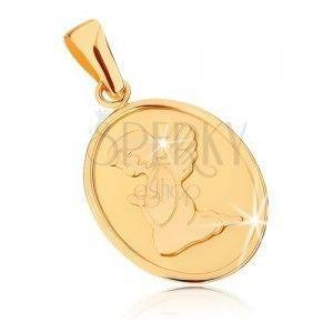 Złoty wisiorek 375 - owalna płaska płytka, aniołek podczas modlitwy obraz