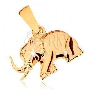 Wisiorek z żółtego złota 9K - lśniący kroczący słonik obraz