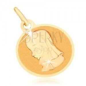 Złoty wisiorek 375 - okrągły płaski medalik, Maryja Panna obraz