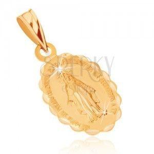 Wisiorek z żółtego złota 9K - dwustronny medalik z Maryją Panną obraz