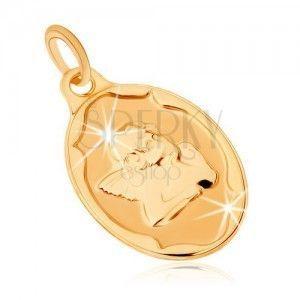 Złoty wisiorek 375 - owalna płytka, aniołek podpierający sobie ręką głowę obraz