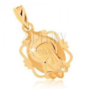 Wisiorek z żółtego złota 9K - medalik z Maryją Panną w ozdobnej ramce obraz