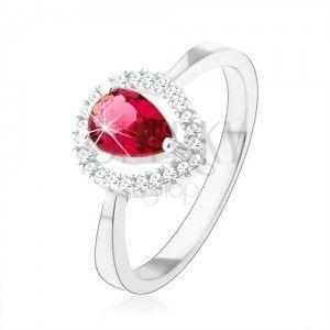Srebrny pierścionek 925, różowa cyrkoniowa łezka, błyszczący zarys obraz