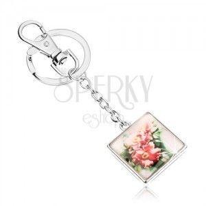 Breloczek do kluczy cabochon - kwadrat z wypukłym szkłem, rozwinięte różowe kwiaty obraz
