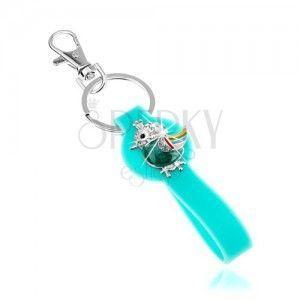 Breloczek na klucze, sylikonowa część w turkusowym kolorze, barwny ptaszek obraz
