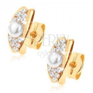 Złote kolczyki 375 - łuczek ozdobiony kryształami Swarovskiego i białą perłą obraz