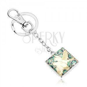 Breloczek do kluczy w stylu cabochon, kwadrat z przezroczystą emalią, dwie białe gołębice, listki obraz