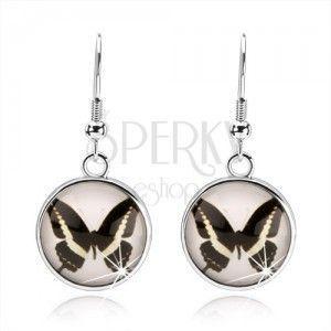 Okrągłe kolczyki cabochon, przezroczyste wypukłe szkło, czarno-biały motylek, bigiel obraz