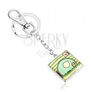 Breloczek do kluczy, kwadrat z wypukłą emalią, słonik ze spiralami, serce, zielone paseczki obraz