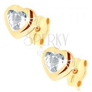 Kolczyki wkręty w żółtym 9K złocie - jasne cyrkoniowe serce, błyszczący zarys obraz