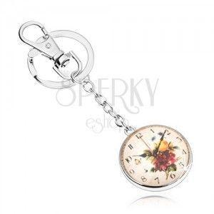 Breloczek w stylu cabochon, jasne wypukłe szkło, motyw zegarka z kwiatami obraz