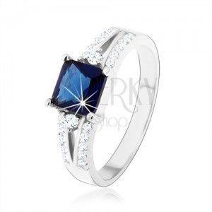 Zaręczynowy pierścionek, srebro 925, niebieski cyrkoniowy kwadrat, zdobione ramiona obraz