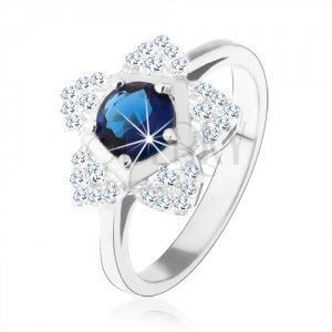 Zaręczynowy pierścionek, srebro 925, błyszczący kwiatek, okrągła niebieska cyrkonia obraz
