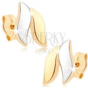 Złote kolczyki 375 - lśniące fale, złoty i srebrny kolor, sztyfty obraz